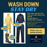 Stay dry at the washdown... get your waterproofs whilst the sun shines!